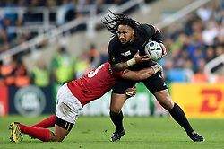 Ma'a Nonu of New Zealand is tackled by Siale Piutau of Tonga - Mandatory byline: Patrick Khachfe/JMP - 07966 386802 - 09/10/2015 - RUGBY UNION - St James' Park - Newcastle, England - New Zealand v Tonga - Rugby World Cup 2015 Pool C.
