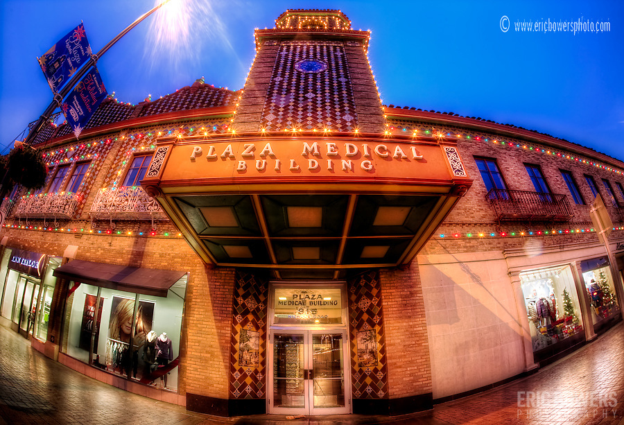 Kansas City Plaza Lights and Plaza Medical Building fisheye lens photo.