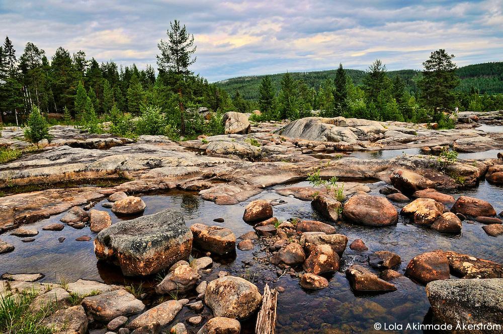 Storforsen whitewater rapids in Sweden