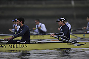 LONDON, ENGLAND - Thursday  13/12/2012 : Oxford University crew, Hurricane and [L] Oliver BRISTOWE and James STEPHENSON, waiting for the start of the annual Varsity trial 8's for The BNY Melon University Boat Race over the Championship Course [Putney to Mortlake]. The River Thames, England. (Mandatory Credit/ Peter  Spurrier/Intersport Images)