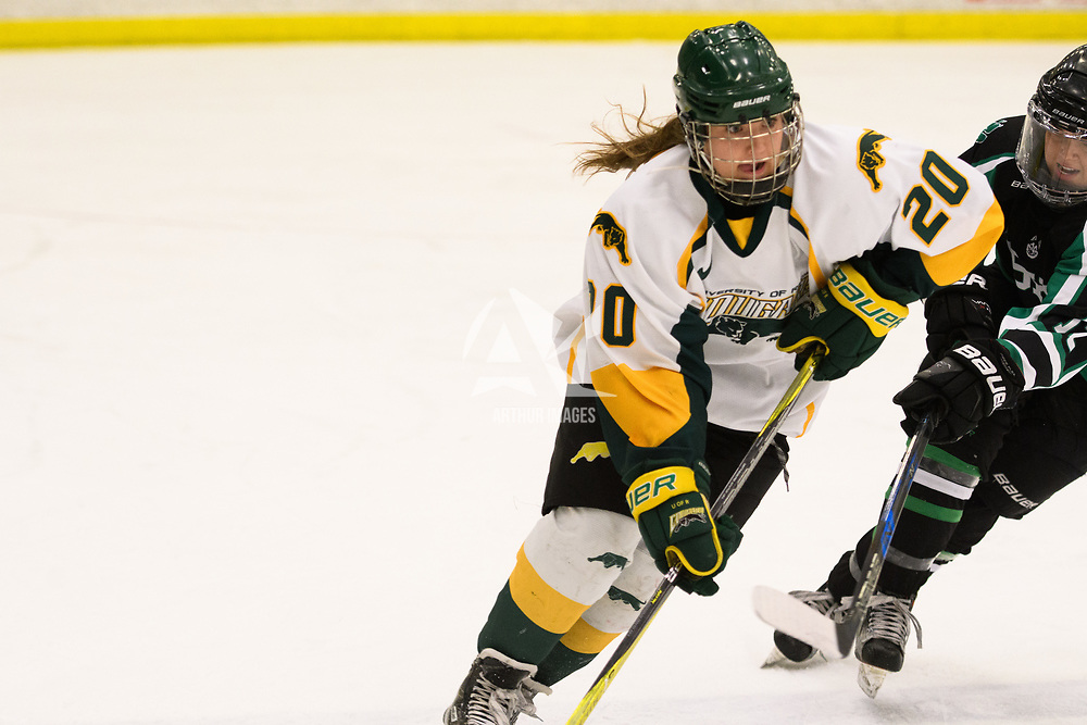 2nd year defence man Mariah McKersie (20) of the Regina Cougars in action during the Women's Hockey home game on December 1 at Co-operators arena. Credit: Arthur Ward/Arthur Images