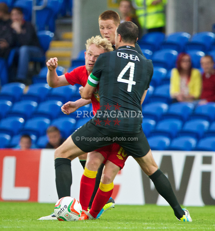 CARDIFF, WALES - Wednesday, August 14, 2013: Wales' Jonathan Williams in action against Republic of Ireland's captain John O'Shea during an International Friendly at the Cardiff City Stadium. (Pic by David Rawcliffe/Propaganda)