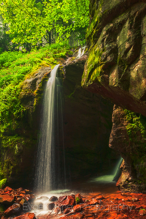 Thin waterfall in the forest at spring