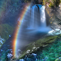Koosah Falls with amazing rainbow