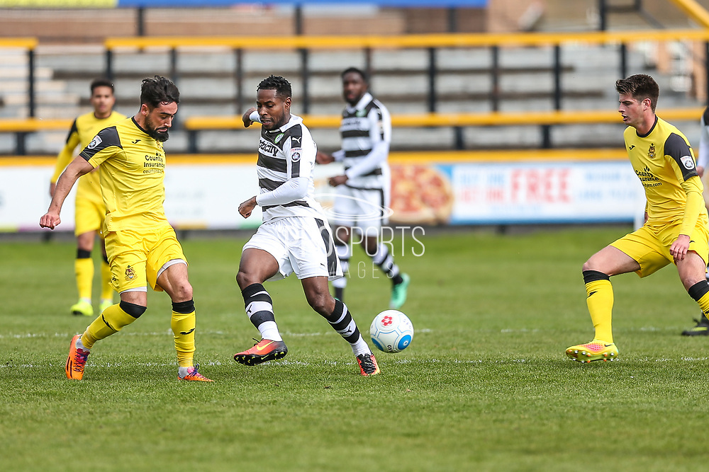 Forest Green Rovers Dale Bennett(6) passes the ball forward during the Vanarama National League match between Southport and Forest Green Rovers at the Merseyrail Community Stadium, Southport, United Kingdom on 17 April 2017. Photo by Shane Healey.