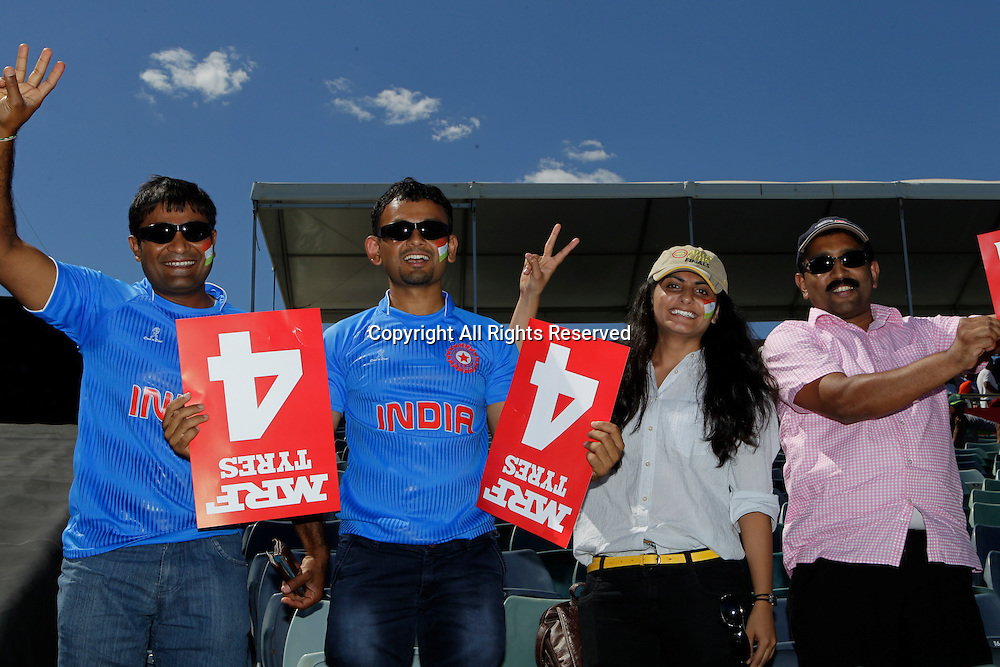 06.03.2015. Perth, Australia. ICC Cricket World Cup. India versus West Indies. Indian supporters gather before the start of the game.