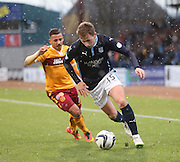 Dundee's Greg Stewart goes past Motherwell's Lionel Ainsworth -  Dundee v Motherwell, SPFL Premiership at Dens Park <br /> <br /> <br />  - &copy; David Young - www.davidyoungphoto.co.uk - email: davidyoungphoto@gmail.com