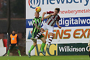 battle of the two's Barry Fuller (Captain) of AFC Wimbledon and Danny Butterfield of Exeter City during the Sky Bet League 2 match between Exeter City and AFC Wimbledon at St James' Park, Exeter, England on 28 December 2015. Photo by Stuart Butcher.