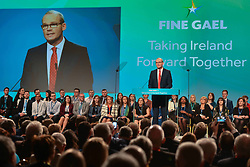 November 17, 2018 - Dublin, Ireland - Simon Coveney, Tanaiste, Minister for Foreign Affairs and Trade and Deputy Leader of Fine Gael, speaks at the Fine Gael Ard Fheis, an annual party conference, at City West Hotel in Dublin.On Saturday, November 17, 2018, in Dublin, Ireland. (Credit Image: © Artur Widak/NurPhoto via ZUMA Press)