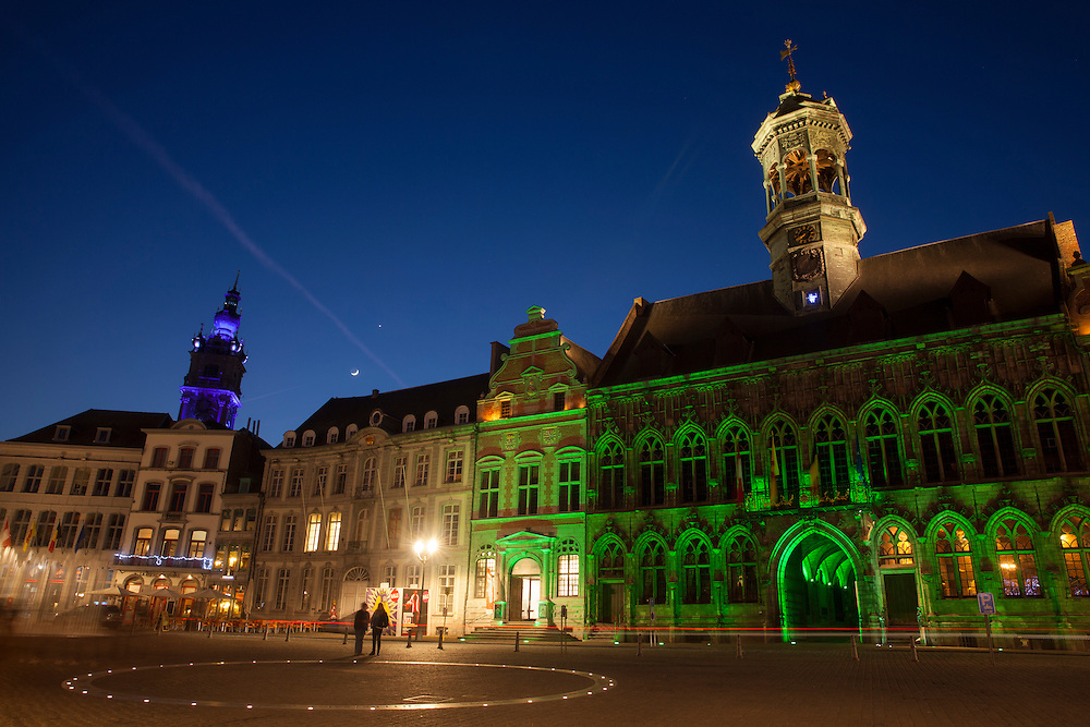 The Grande Place, the centre of the historic town of Mons.<br /> Mons is a Belgian city and municipality, and the capital of the province of Hainaut. Together with the Czech city of Plzeň, Mons is the European Capital of Culture in 2015.