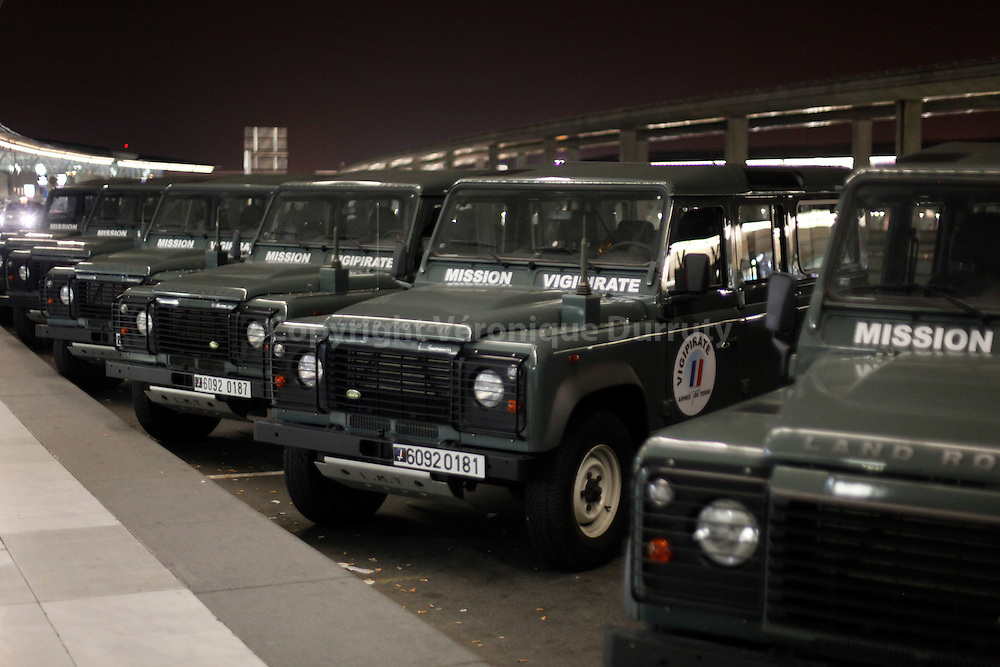 Fighting terrorism. French army Trucks in front of the entrance of Roissy Charles de Gaulle airport( CDG 2 )