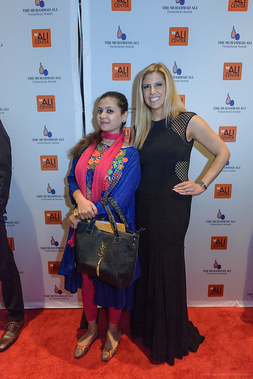 Shawana Shah and Tina Hovsepian on the red carpet at the fourth annual Muhammad Ali Humanitarian Awards Saturday, Sept. 17, 2016 at the Marriott Hotel in Louisville, Ky. (Photo by Brian Bohannon for the Muhammad Ali Center)