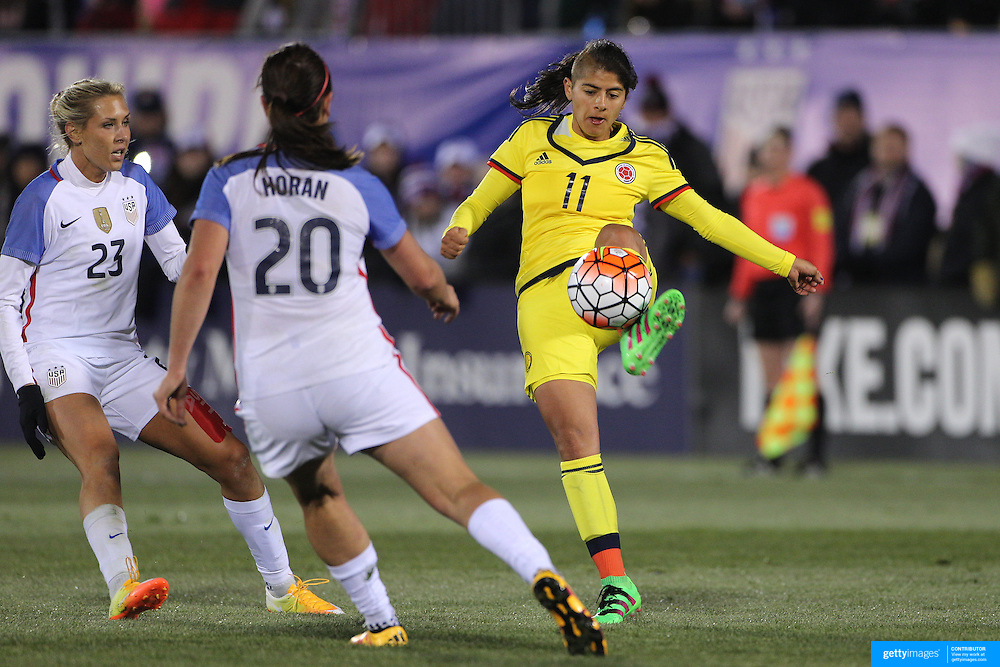 Catalina Usme, Colombia, in action during the USA Vs Colombia, Women's International friendly football match at the Pratt & Whitney Stadium, East Hartford, Connecticut, USA. 6th April 2016. Photo Tim Clayton