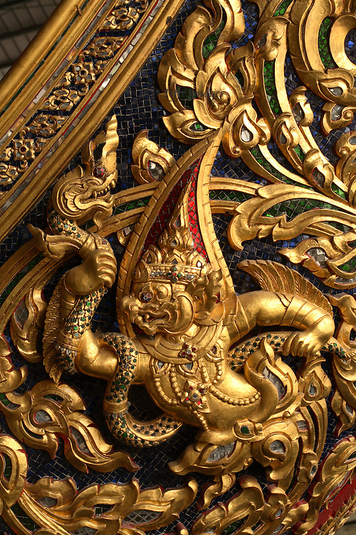 Gilded relief sculpture on the prow of a barge in the Royal Barge Museum, Bangkok.