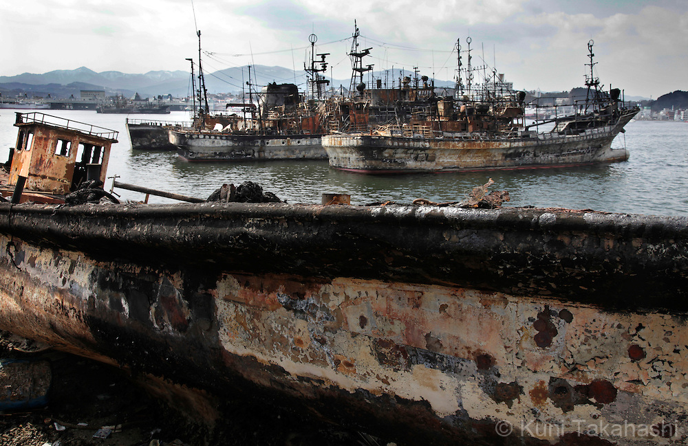 Burnt ships are left on the port in Namiita area in Kesennuma, Miyagi, Japan on March 29, 2011 after massive earthquake and tsunami hit northern Japan. More than 20,000 were killed by the disaster on March 11.<br /> Photo by Kuni Takahashi