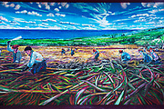 "Mural titled ""The Cane Cutters"" by Margaret Stanton, Honokaa, The Big Island, Hawaii USA"