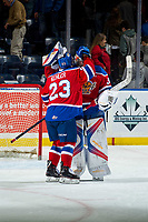 KELOWNA, CANADA - FEBRUARY 17:  Colton Kehler #23 and Todd Scott #35 of the Edmonton Oil Kings celebrate the shoot out win against the Kelowna Rockets on February 17, 2018 at Prospera Place in Kelowna, British Columbia, Canada.  (Photo by Marissa Baecker/Shoot the Breeze)  *** Local Caption ***