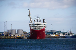 Oil and gas field support vessel in Peterhead bay, Peterhead, Aberdeenshire, Scotland, UK.<br /> Photo: Ed Maynard<br /> 07976 239803<br /> www.edmaynard.com