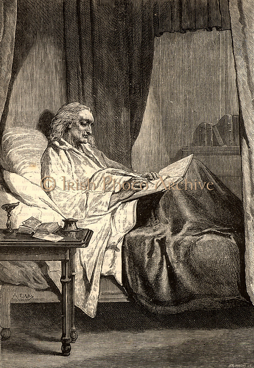 John Wesley (1703-1791) English evangelical preacher and founder of Methodism.  Wesley on his deathbed writing to William Wilberforce the campaigner for the abolution of slavery. Engraving from 'Heroes of Britain' by Edwin Hodder (London, c1880).