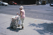 Elderly woman pushing a shopping cart down the sidewalk