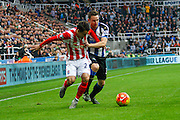 Stoke City Defender Philipp Wollscheid battles in the midfield  during the Barclays Premier League match between Newcastle United and Stoke City at St. James's Park, Newcastle, England on 31 October 2015. Photo by Craig McAllister.