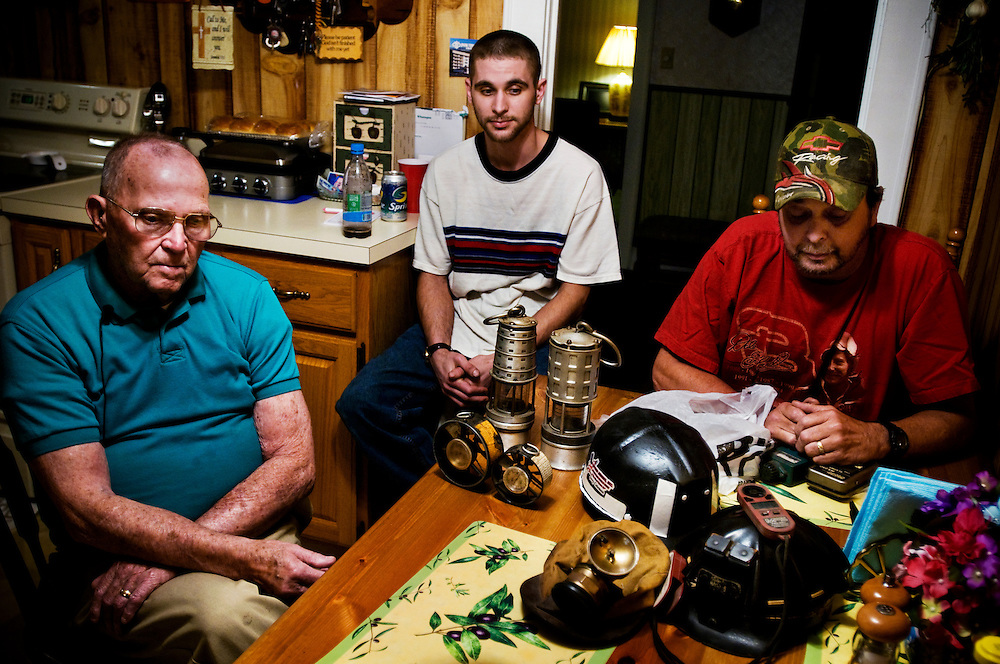 Cross country trip by Greyhound bus. ..First stop: West Virginia - mining and mountaintop removal in the Charleston area..Three generations of miners at the kitchen table: Left to right:..Clyde Coleman, 85, Eric Coleman 27, and Jerry Coleman 56...Photographer: Chris Maluszynski /MOMENT