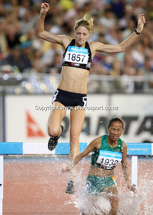 Rebecca Forlong (NZL) races in the Women's 3000m Steeplechase on Day 7 of the XVIII Commonwealth Games at the MCG, Melbourne, Australia on Wednesday 22 March, 2006. Photo: Hannah Johnston/PHOTOSPORT
