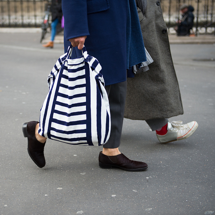 Blue and White Striped Men's Tote at Issey Miyake FW2017