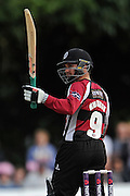 Johann Myburgh reaches fifty during the NatWest T20 Blast South Group match between Middlesex County Cricket Club and Somerset County Cricket Club at Uxbridge Cricket Ground, Uxbridge, United Kingdom on 26 June 2015. Photo by David Vokes.