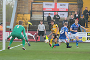 A cross from Cambridge No 25 Darnell Furlong during the Sky Bet League 2 match between Cambridge United and Carlisle United at the R Costings Abbey Stadium, Cambridge, England on 16 April 2016. Photo by Nigel Cole.
