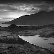 Loch nam ban Mora (The loch of the big women) and the isle of Rum from the Sgurr, Isle of Eigg