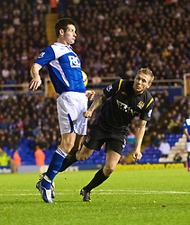 BIRMINGHAM, ENGLAND - Sunday, November 1, 2009: Manchester City's Craig Bellamy appeals for a penalty as the ball hits the arm of Birmingham City's Scott Dann during the Premiership match at St Andrews. (Pic by David Rawcliffe/Propaganda)