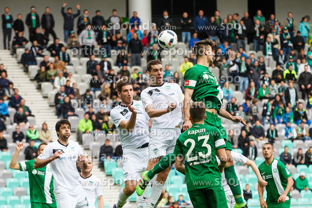 Damjan Vuklisevic #16 of NK Krsko and Denis Klinar #2 of NK Olimpija Ljubljana during football match between NK Olimpija Ljubljana and NK Krsko, 31th Round of Prva Liga Telekom Slovenije 2015/16, on April 23, 2016, in Sports park Domzale, Domzale, Slovenia. (Photo by Grega Valancic / Sportida)