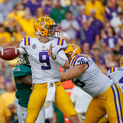 Sep 8, 2018; Baton Rouge, LA, USA; LSU Tigers quarterback Joe Burrow (9) against the Southeastern Louisiana Lions during the first quarter of a game at Tiger Stadium. Mandatory Credit: Derick E. Hingle-USA TODAY Sports