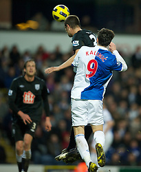 BLACKBURN, ENGLAND - Sunday, January 23, 2011: West Bromwich Albion's Gabriel Tamas scores an own-goal to hand Blackburn Rovers the opening goal during the Premiership match at Ewood Park. (Photo by David Rawcliffe/Propaganda)