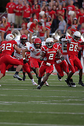 19 September 2009:E.J. Jones strides up the field after breaking into the Governors secondary  in a game which the Austin Peay Governors were defeated 38-7 by the Illinois State Redbirds at Hancock Stadium on campus of Illinois State University in Normal Illinois