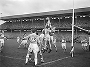 A group of players all challenge for the ball in the air feet from the Derry goalmouth during the All Ireland Senior Gaelic Football final Dublin vs Derry in Croke Park on 28th September 1958. Dublin 2-12 Derry 1-9.