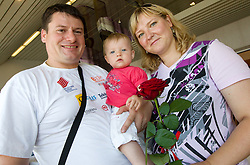 Andrej Hajnsek and his wife with daughter Nina  at arrival of team Slovenia at the end of European Athletics Championships Barcelona 2010 to Slovenia, on August 2, 2010 at Airport Joze Pucnik, Brnik, Slovenia. (Photo by Vid Ponikvar / Sportida)