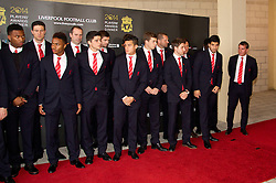 LIVERPOOL, ENGLAND - Tuesday, May 6, 2014: Liverpool players Raheem Sterling, Philippe Coutinho Correia, Jon Flanagan, Joe Allen, Luis Suarez and manager Brendan Rodgers arrive on the red carpet for the Liverpool FC Players' Awards Dinner 2014 at the Liverpool Arean (Pic by David Rawcliffe/Propaganda)