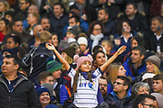 A young Scotland fan braves the elements during the 2018 Autumn Test match between Scotland and Fiji at Murrayfield, Edinburgh, Scotland on 10 November 2018.