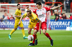 April 28, 2018 - Mouscron, BELGIUM - Essevee's Julien De Sart and Mouscron's Dorin Rotariu fight for the ball during a soccer game between Royal Excel Mouscron and Zulte Waregem, in Mouscron, Saturday 28 April 2018, on day six of the Play-Off 2A of the Belgian soccer championship. BELGA PHOTO VIRGINIE LEFOUR (Credit Image: © Virginie Lefour/Belga via ZUMA Press)