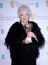 Thelma Schoonmaker with her fellowship Bafta in the press room at the 72nd British Academy Film Awards held at the Royal Albert Hall, Kensington Gore, Kensington, London.
