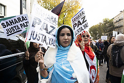November 17, 2018 - Madrid, Spain - People protesting during a demonstration in Madrid for a 'Free Sahara', to ask for the democracy in Western Sahara. (Credit Image: © Oscar Gonzalez/NurPhoto via ZUMA Press)