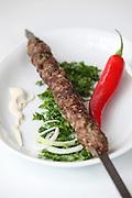 Lamb Kebab skewer on a plate