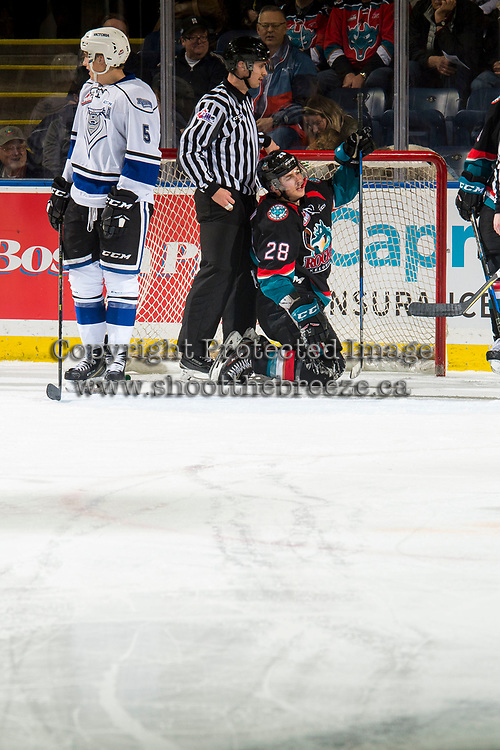 KELOWNA, CANADA - NOVEMBER 23:  Leif Mattson #28 of the Kelowna Rockets slides into the net of the Victoria Royals during second period on November 23, 2018 at Prospera Place in Kelowna, British Columbia, Canada.  (Photo by Marissa Baecker/Shoot the Breeze)