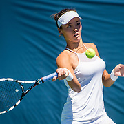 August 22, 2016, New Haven, Connecticut: <br /> Sophie Chang in action during the US Open National Playoffs women's singles finals match on Day 4 of the 2016 Connecticut Open at the Yale University Tennis Center on Monday August  22, 2016 in New Haven, Connecticut. <br /> (Photo by Billie Weiss/Connecticut Open)