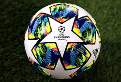 Close up of the official match ball before the UEFA Champions League match at Anfield, Liverpool.