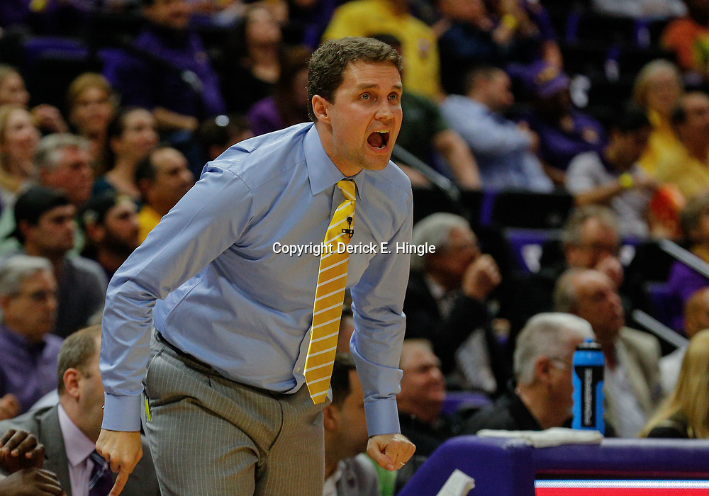 Feb 20, 2018; Baton Rouge, LA, USA; LSU Tigers head coach Will Wade against the Vanderbilt Commodores during the first half at the Pete Maravich Assembly Center. Mandatory Credit: Derick E. Hingle-USA TODAY Sports