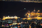 Israel, Haifa, the port of Haifa Israel's largest seaport night photography