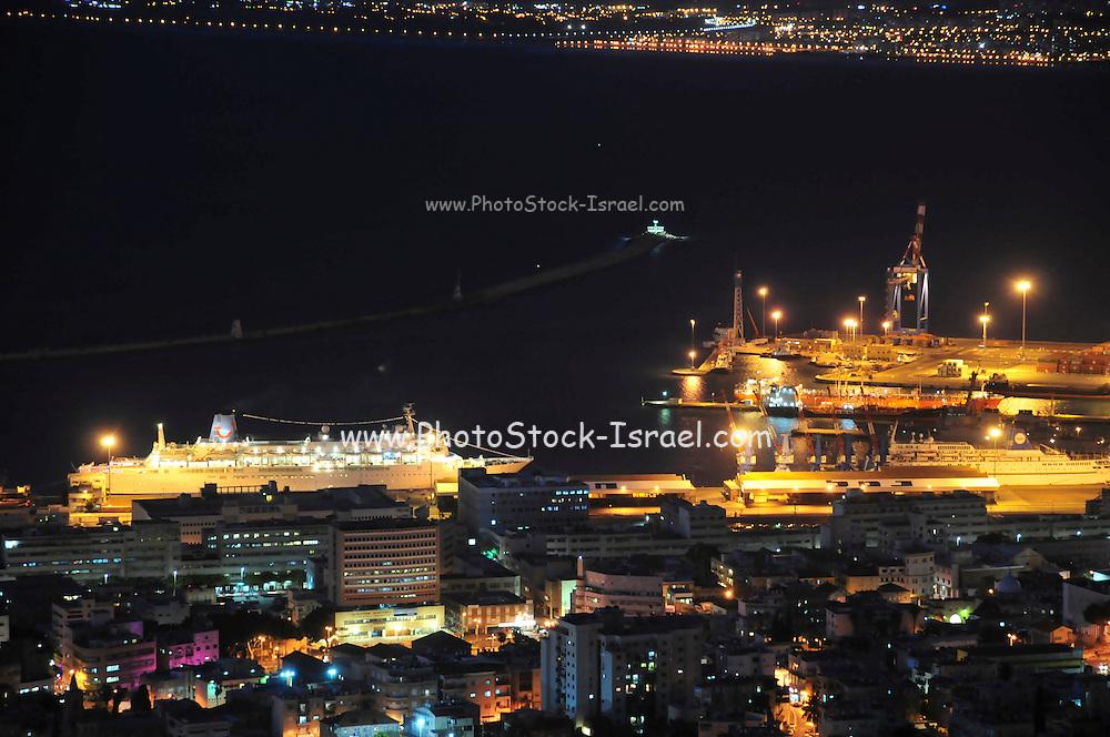 Israel, Haifa, the port of Haifa Israel's largest seaport night photography
